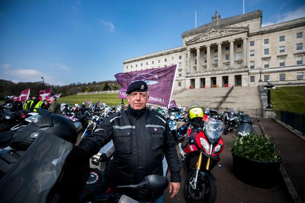 Motorcyclists at the Stormont buildings in Belfast take part in the Rolling Thunder ride protest to support of Soldier F, who is facing prosecution over Bloody Sunday. Press: Liam McBurney/PA Wire