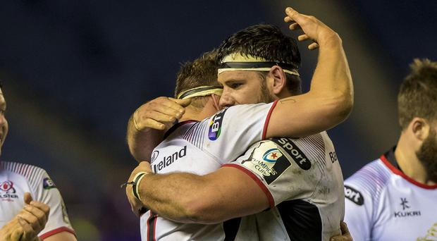 Ulster's Jordi Murphy and Marcell Coetzee celebrate the victory.
