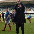 Linfield's manager David Healy after his side sealed the Irish League title.