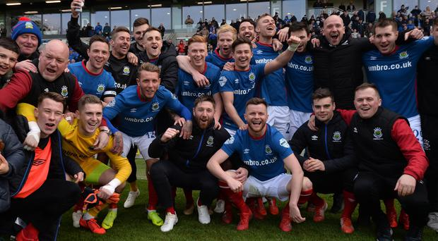 Linfield celebrate winning their 53rd Irish League title.