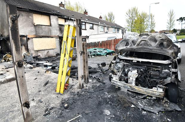 The scene of a suspected arson attack in Newtownabbey. Credit: Colm Lenaghan/Pacemaker Press