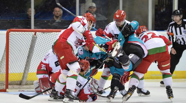 Final hurdle: Belfast Giants can't find a way through in a goalmouth scramble