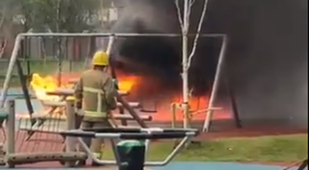 The fire at Avoniel Play Park. Credit: Charter NI