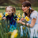 Dorothy joins little witch Maisy on the Yellow Brick Road of daffodils to launch this year's Spring Fair, which will take place at Malone House and Barnett Demesne on Saturday 27 and Sunday April 28