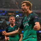 Hot Spur: Fernando Llorente celebrates his decisive Spurs goal last night