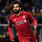 On target: Mohamed Salah celebrates netting for Pool
