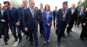 US House of Representatives speaker Nancy Pelosi with Congressman Richard Neal crosses the border into the Republic of Ireland near Bridgened in Co Donegal , as part of her four-day visit to Ireland and Northern Ireland. Niall Carson/PA Wire