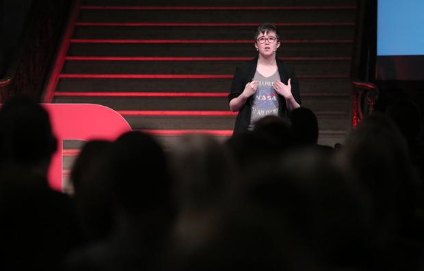 Lyra McKee gives talk at TEDxStormont Women 2017 in the Great Hall, Parliament Buildings in 2nd November 2017. Photo by Kelvin Boyes / Press Eye.