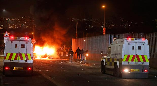 Petrol bombs are thrown at police in Creggan, Londonderry. PRESS ASSOCIATION Photo. Picture date: Thursday April 18, 2019. Photo credit: Niall Carson/PA Wire