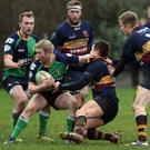 Ballynahinch (green) and Banbridge (navy) in action (Freddie Parkinson/PressEye)