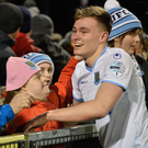 Rising star: Kofi Balmer has been impressing at the heart of the Ballymena United defence this season