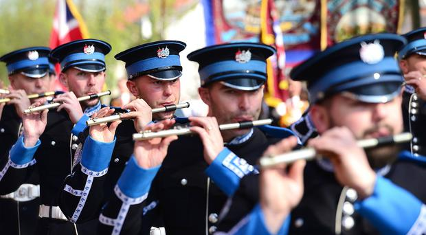 The Apprentice Boys annual Easter Monday parade in East Belfast. Bandsmen pictured during the parade in east Belfast. Picture By: Arthur Allison/Pacemaker Press