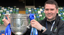 Soured celebrations: David Healy's side collected the Gibson Cup in the aftermath of a humbling by Glenavon on Saturday