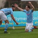 Andy McGrory (right) and Johnny McMurray both scored for Ballymena United.