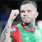 Drawing sting: Darren Murray celebrates the equaliser