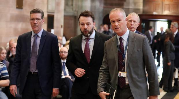 SDLP leader Colum Eastwood at the funeral and service of thanksgiving for the life of journalist Lyra McKee at St Anne's Cathedral, Donegall Street, Belfast.