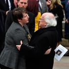 Irish President Michael D Higgins consoles Sara Canning, partner of the murdered journalist Lyra McKee as her funeral takes place at St. Anne's Cathedral (Photo by Charles McQuillan/Getty Images)