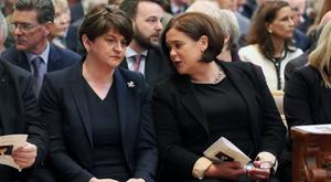 DUP leader Arlene Foster and Sinn Fein leader Mary-Lou McDonald at the funeral and of journalist Lyra McKee at St Anne's Cathedral in Belfast. Credit: Kelvin Boyes/Press Eye.