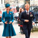The Duchess of Cambridge, and the Duke of Sussex arrive for the service to mark Anzac Day in London