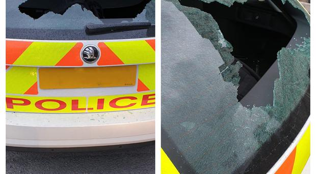 Police took to social media to show the damage to the patrol car