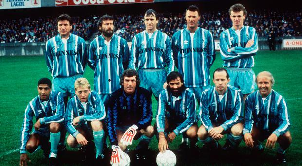 George Best and his side at the testimonial in Belfast in 1988
