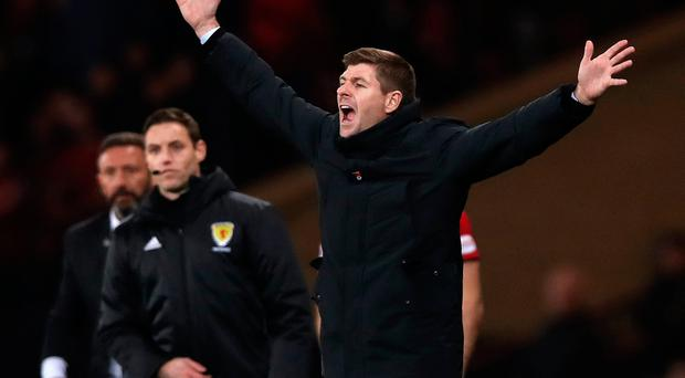 Shouting odds: Gers boss Steven Gerrard lets rip during the League Cup clash with Aberdeen