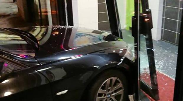 The crash happened at a Chinese takeaway in Portadown on Friday night. Credit: PSNI Craigavon Facebook