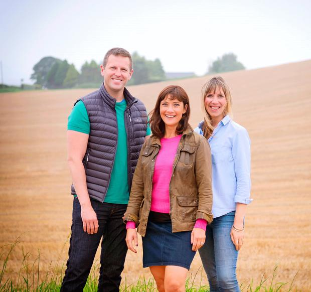 Jo Scott with fellow Home Ground presenter Gavin Andrews and series reporter Ruth Sanderson