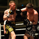 Upper hand: Feargal McCrory during his win over Karl Kelly