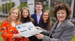 From left, Kerrie Irvine, of Deloitte, academy participants Laura Jane Speers, Alexander McInnes and Rachel McMullan, and Ann Williamson of the Dept for the Economy