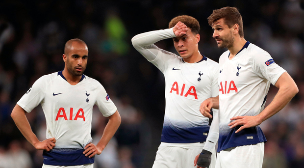 Mixed emotions: Lucas Moura, Dele Alli and Fernando Llorente show their frustration after Donny van de Beek netted the only goal for Ajax