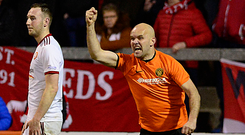 Get in: Lukasz Adamczyk celebrates after Ports' own goal
