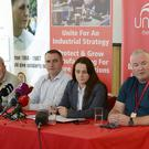 Unite the union, which represents the majority of workers employed by Bombardier at five sites in Northern Ireland, held a press conference on its response to the announcement Picture By: Arthur Allison/Pacemaker Press