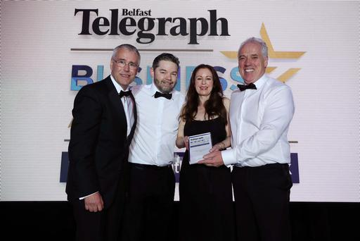 Outstanding Business of the Year Sponsored by Ulster Bank Tony Convery and Brendan Maynes from CDE Presented by Richard Donnan, Ulster Bank and Gail Walker, Belfast Telegraph Photo by Kelvin Boyes / Press Eye.