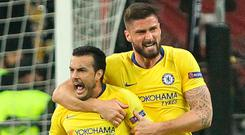 Top strike: Pedro celebrates after equalising for Chelsea