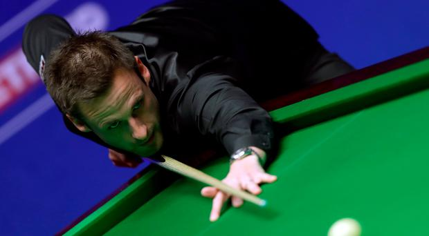 On song: David Gilbert has continued his fine form by storming into a 5-3 lead over John Higgins in his semi-final
