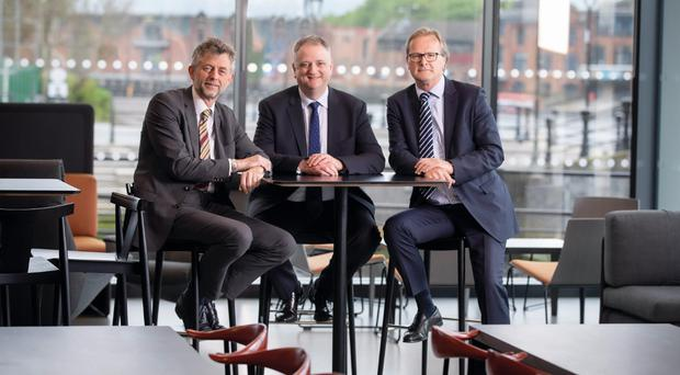 Colin Shaw, WDR & RT Taggart, John Healy, managing director of Allstate Northern Ireland and Chris Ingle-Finch, 1080 sales director in Allstate's NI headquarters, Belfast.