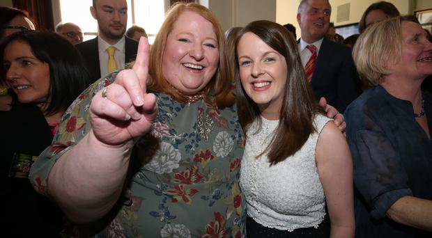 Counting continues at Belfast City Hall for the Belfast City Council elections after Thursday's voting across Northern Ireland. Alliance parties Nuala McAllister celebrates topping the poll in Castle pictured with Naomi Long. Picture Matt Mackey / Press Eye.