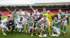 Celtic players celebrate after the final whistle during the Ladbrokes Scottish Premiership match at Pittodrie (Jeff Holmes/PA Wire)