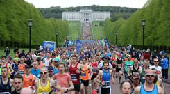 Press Eye - Belfast - Northern Ireland - 5th May 2019 - General view of the start of the Deep RiverRock Belfast City Marathon at the Stormont Estate, Belfast. Photo by Kelvin Boyes / Press Eye.