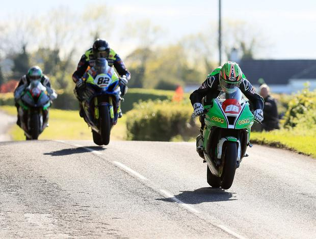 Pacemaker Belfast 4-5-19 Tandragee 100 Senior Race - Around a Pound Tandragee 100 Road Races Derek McGee leads Derek Shiels and Michael Sweeney during today's Tandragee 100 Senior Race at the Around a Pound Tandragee 100 Road Races in Co Armagh. Photo by David Maginnis/Pacemaker Press