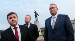 Ulster Unionist Party (UUP) leader Robin Swann (left) and his party colleagues John Stewart (centre) and Doug Beattie.