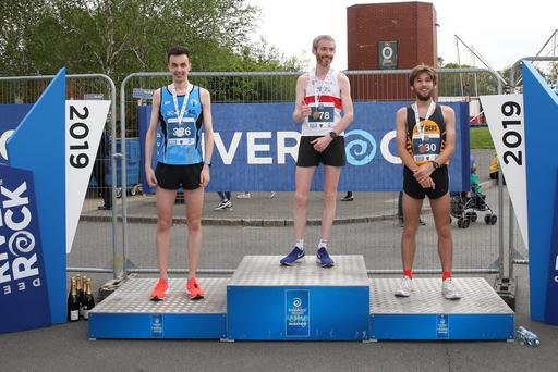 Local athletes first place Jarlath McKenna, second place Vincent Mc Kenna and third place Max Travers. Pic Presseye Declan Roughan