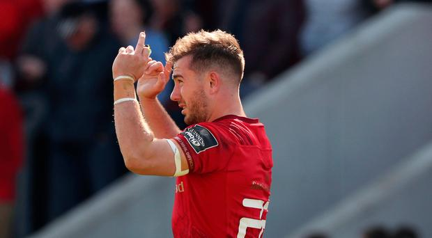 Final say: Munster's JJ Hanrahan celebrates kicking winning penalty