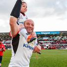 On high: Rory Best and son Richie at Kingspan on Saturday night