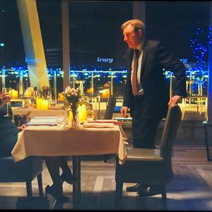 Ted Hastings (Adrian Dunbar) and Gill Biggeloe (Polly Walker) dining in The Ivory on Line of Duty
