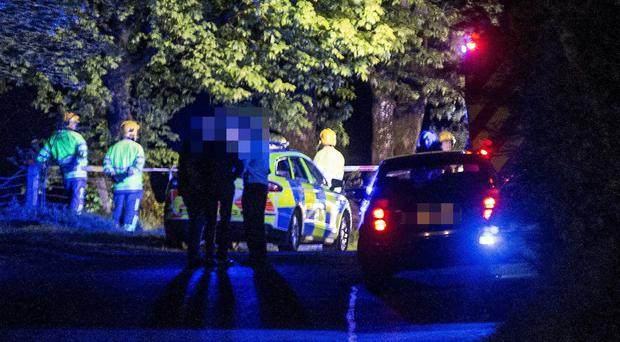 Emergency services at the scene of a fatal accident on the Altnahinch Road in Loughguile on Sunday night.
