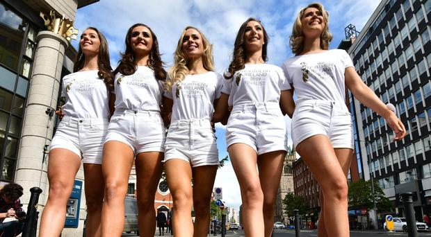 PACEMAKER BELFAST 06/05/2019 Miss Northern Ireland hopefuls during a photocall ahead of the Miss NI 2019 Gala Final at the Europa Hotel, being held on May Bank Holiday Monday. Photo Colm Lenaghan/Pacemaker Press