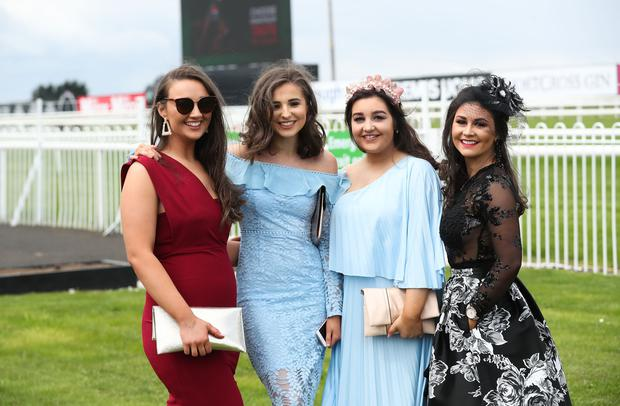 Press Eye - Belfast - Northern Ireland - 6th May 2019 - Down Royal Races May Day Meeting at the Maze, Lisburn. Jane McGlinn, Julie Bogan, Grainne Sludden and Dearvla Dolan pictured at Down Royal. Photo by Kelvin Boyes / Press Eye.