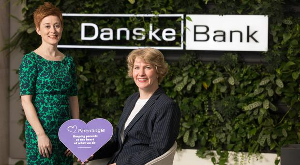 Orla King (left), senior HR manager at Danske Bank, with Maeve Bouvier from Parenting NI